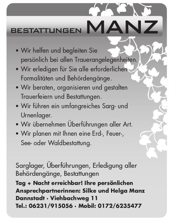 Werbeanzeige Bestattungen Manz